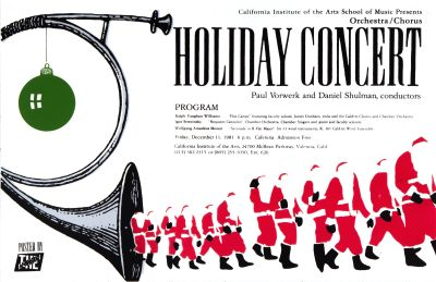 CalArts poster: Orchestra/Chorus Holiday Concert by Michael Brewer Steve Burr