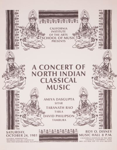 CalArts poster: A Concert of North Indian Classical Music by