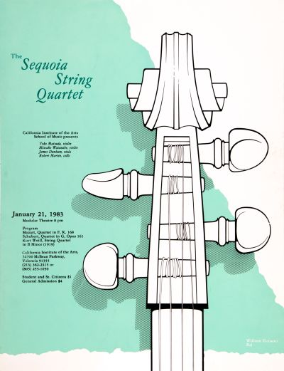 CalArts poster: The Sequoia String Quartet by Kiran RajBhandary William Ticineto