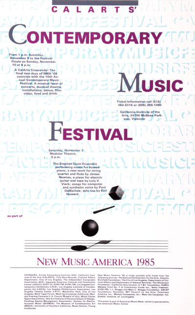 CalArts poster: CalArts Contemporary Music Festival: New Music America 1985 by