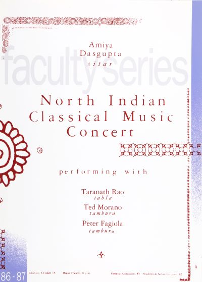CalArts poster: '86 – '87 Faculty Series: North Indian Classical Music Concert by