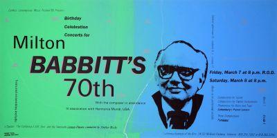 CalArts poster: Milton Babbitt's 70th by Tracey Sang