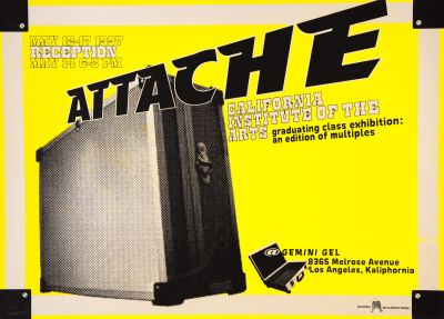 CalArts poster: Attache: Graduating Class Exhibition by Ana Llorente Lee Schultz