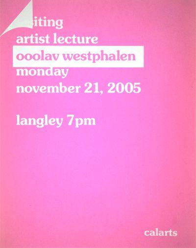 CalArts poster: Ooolav Westphalen by Mike Calvert