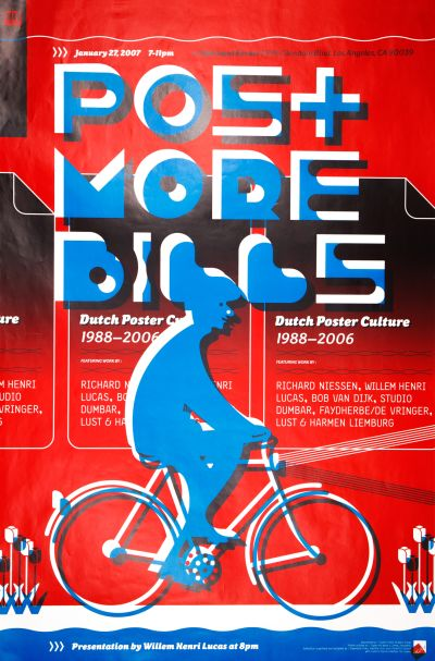 "CalArts poster: ""Post More Bills"": Presentation by William Henri Lucas (front) by Florencio Zavala"
