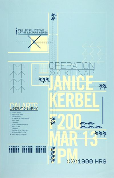 "CalArts poster: ""Operation Kidnap"", Janice Kerbel by Eileen Levinson Stephanie Chen"