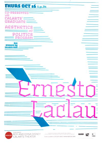 CalArts poster: REDCAT: Ernesto Laclau by Jesse Frankel