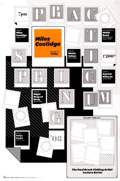CalArts poster: 2008 Spring Practicum: Miles Coolidge (2/2) by Eileen Levinson N. Silas Munro