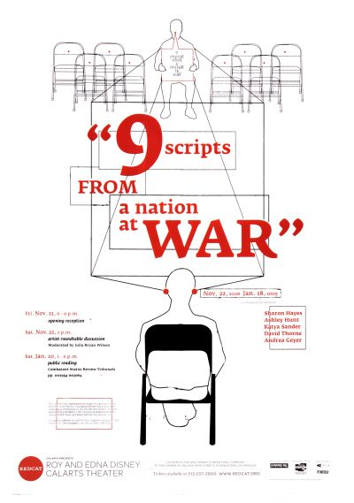 "CalArts poster: REDCAT: ""9 Scripts From A Nation At War"" by Manuel Garcia"