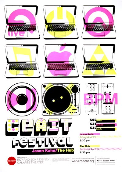 CalArts poster: REDCAT: CEAIT Festival by Daniel Lucas Guimaraes Nathan Martin