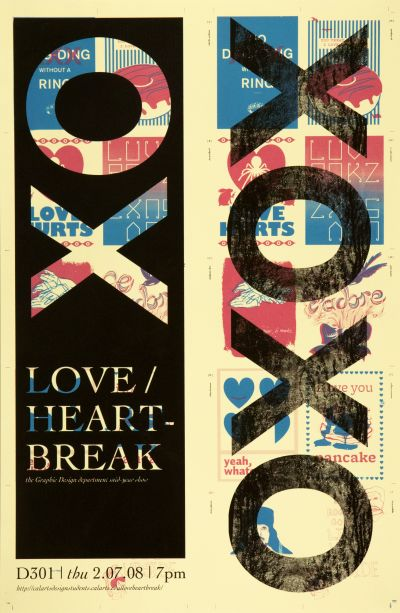 CalArts poster: Love/Heartbreak: The Graphic Design Department End-Year Show by Nikelle Orellana