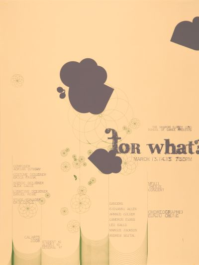 "CalArts poster: ""For What?"", MFA Thesis Concert by"