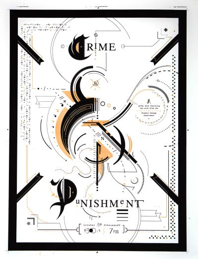 "CalArts poster: ""Crime & Punishment"", Group Show Featuring CalArts GD Department by Jesse Lee Stout"
