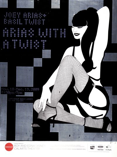 "CalArts poster: REDCAT: Joey Arias and Basil Twist, ""Arias with a Twist"" by Terry Lee"