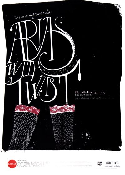 "CalArts poster: REDCAT: Joey Arias and Basil Twist, ""Arias with a Twist"" by Karen To"