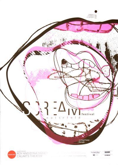 CalArts poster: REDCAT: Scream Festival, Noise Fold by Masato Nakada Karen To