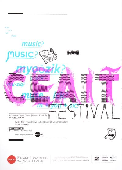 CalArts poster: REDCAT: CEAIT Festival by Benjamin Segall