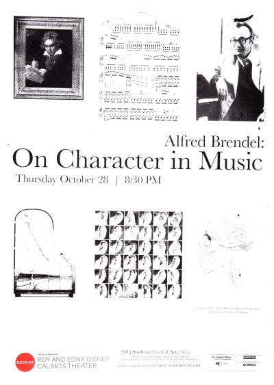 "CalArts poster: REDCAT: ""Alfred Brendel: On Character in Music"" by Phil Shaw"