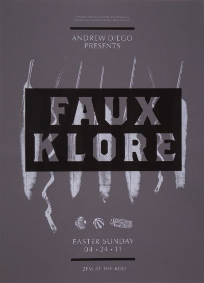 CalArts poster: Andrew Diego Presents Faux Klore by Kate Johnston Scott Massey