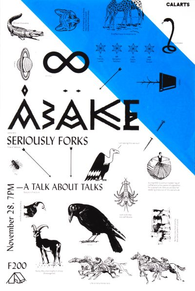"CalArts poster: ""Seriously Forks"": A Talk About Talks by Izaak Berenson"