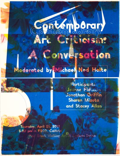 CalArts poster: Contemporary Art Criticism: A Conversation by Laura Bernstein
