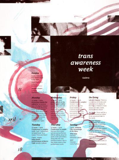 CalArts poster: CalArts Trans Awareness Week by Mitchel Cox