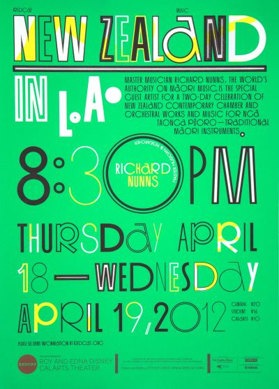 CalArts poster: REDCAT: New Zealand in L.A. by Izaak Berenson Tom Kracauer