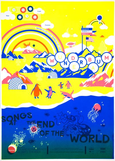 CalArts poster: REDCAT: Songs at the End of the World by Bijan Berahimi Christina Rodriguez Christopher Burnett Pedro Lavin