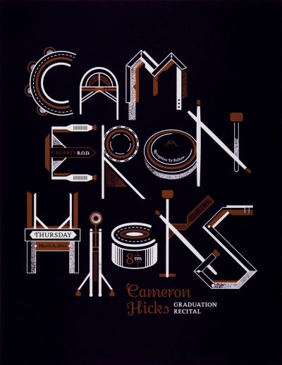 CalArts poster: Cameron Hicks Graduation Recital by Christopher Burnett