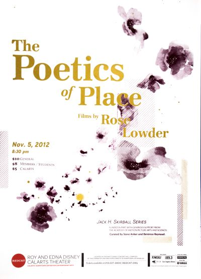 CalArts poster: REDCAT: The Poetics of Place, Films by Rose Lowder by Angie Yeun Son Hyoseon Kim
