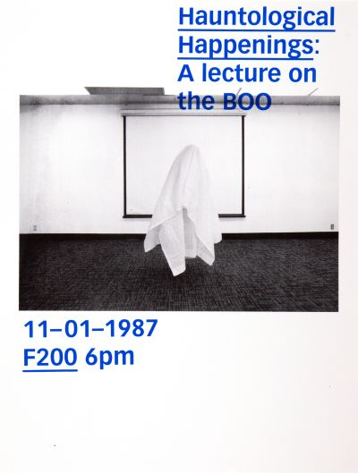CalArts poster: Hauntological Happenings: A Lecture on the BOO by Cassandra Cisneros