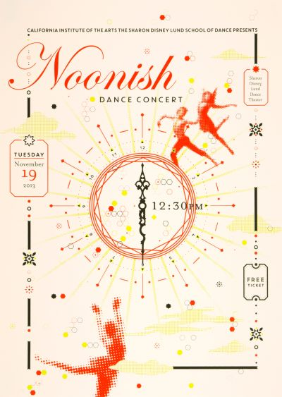 CalArts poster: 2013 Noonish Dance Concert by Andrea Juhie Kim Lorena Reyes