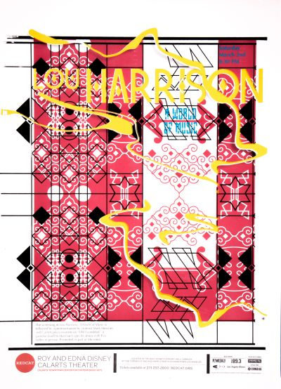 """CalArts poster: REDCAT: Lou Harrison, """"A World of Music"""" by Conner Tozier Sarah Young"""