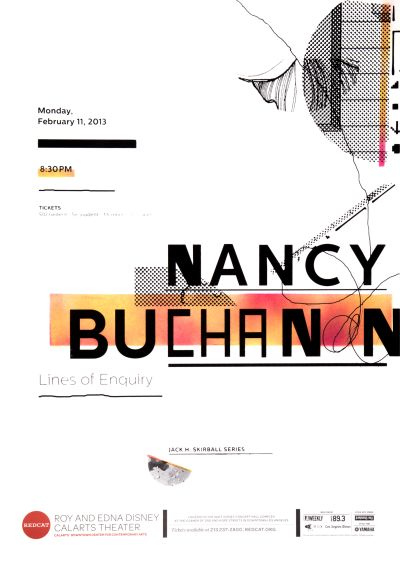"CalArts poster: REDCAT: Nancy Buchanan, ""Lines of Enquiry"" by Jenée Jernigan"