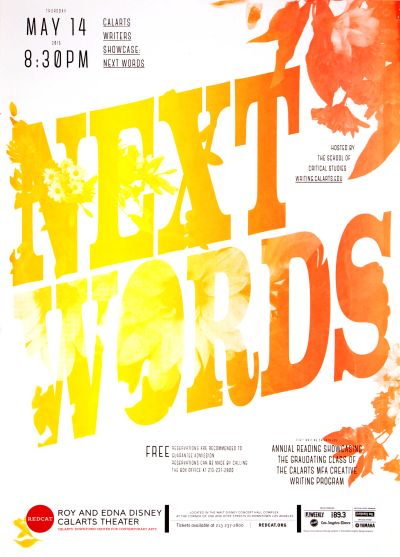 CalArts poster: REDCAT: Next Words by Jessica Lee Lu Feng