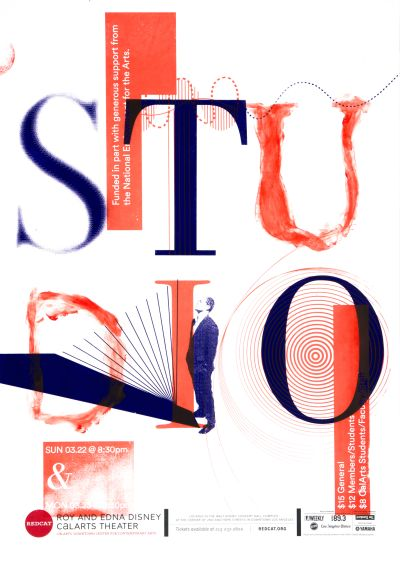 CalArts poster: REDCAT: 2015 Studio by Kate Ludwig Katie Barger Tina Hung