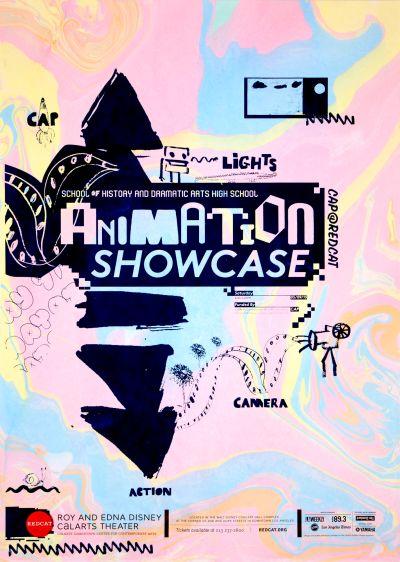 CalArts poster: REDCAT: School of History and Dramatic Arts High School Animation Showcase by Brian Thompsen Karin Yamauchi