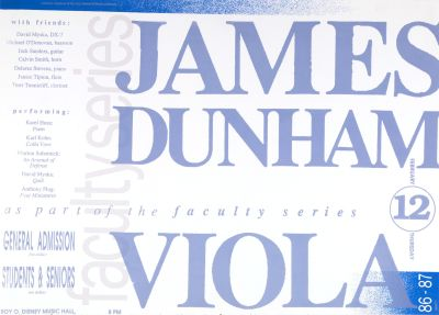 CalArts poster: '86 – '87 Faculty Series: James Dunham by