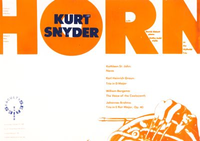 CalArts poster: '87 – '88 Faculty Series: Kurt Snyder by