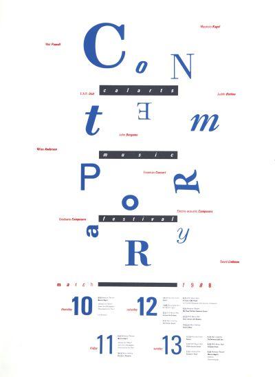 CalArts poster: 1988 CalArts Music Festival Contemporary by Cherylann Bento-Hughart