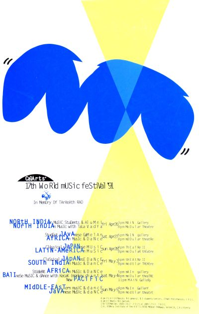 CalArts poster: CalArts' 17th World Music Festival '91 by Caryn Aono