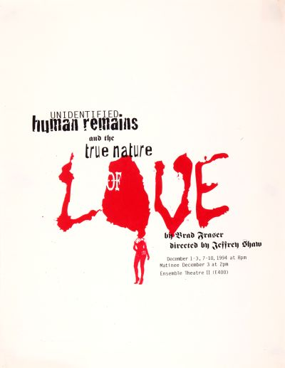 CalArts poster: Unidentified Human Remains And The True Nature Of Love by Amanda Washburn