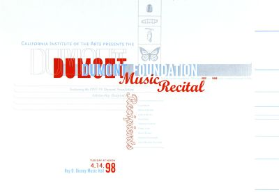 CalArts poster: Dumont Foundation Music Recital by Jennifer Staggs