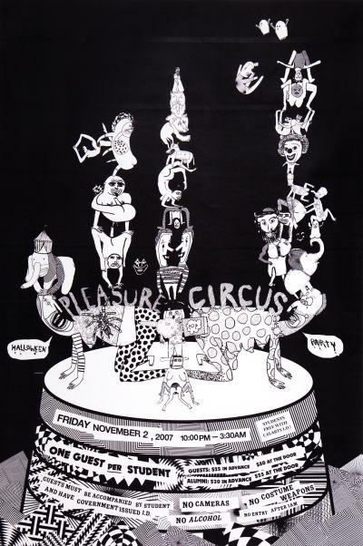CalArts poster: 2007 CalArts Halloween: Pleasure Circus by Mansi Shah Tiffany Malakooti