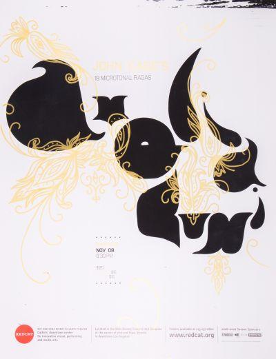 CalArts poster: REDCAT: John Cage's 18 Microtonal Ragas by Manuel Garcia