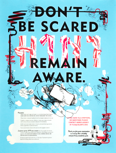 CalArts poster: Don't Be Scared, Remain Aware by Peter Kaplan