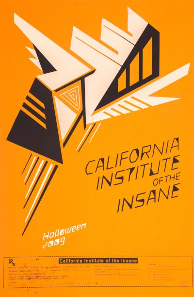 CalArts poster: 2009 CalArts Halloween: California Institute of the Insane by Jesse Frankel