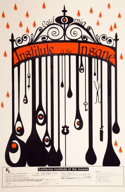 CalArts poster: 2009 CalArts Halloween: California Institute of the Insane by Monica Nascimento