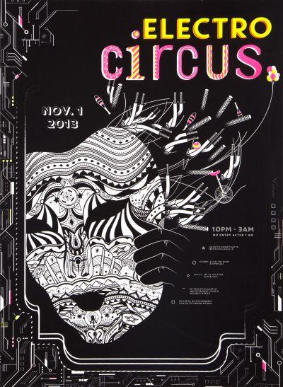 CalArts poster: 2013 CalArts Halloween: Electro Circus by Conner Tozier Taylor Moran