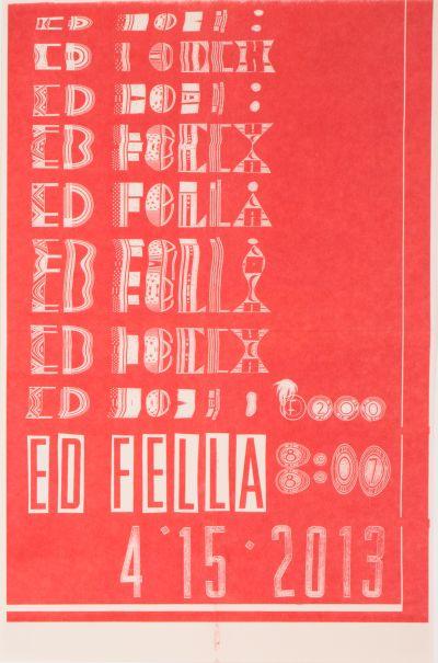 CalArts poster: Ed Fella Farewell Lecture by Thea Lorentzen